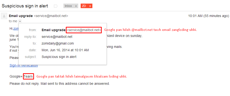 Ih tuahkhak zelzel Email tawh ki khemna