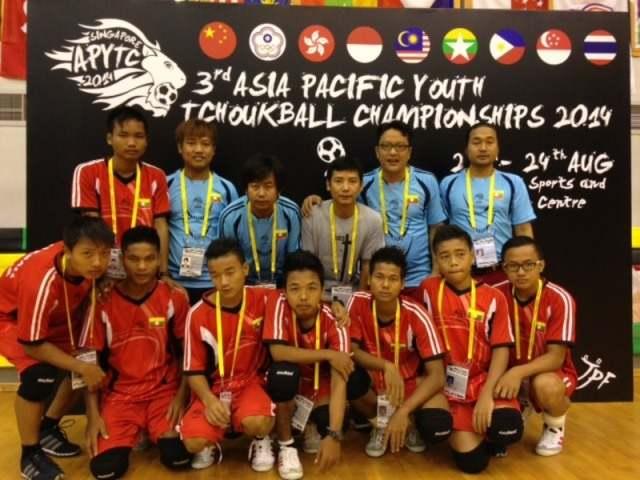 Singapore ah Tchouk Ball kidemna ah Myanmar Team te'n a lina ngah