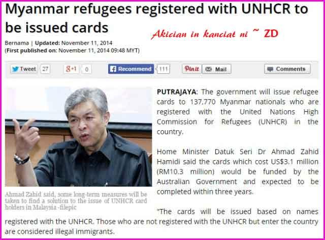 UNHCR tawh ciaptehna ngahsa te Refugee Card ki piading