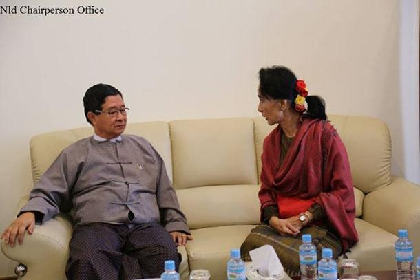 Suu Kyi leh Peace Negotiator Aung Min te ki mukhawm