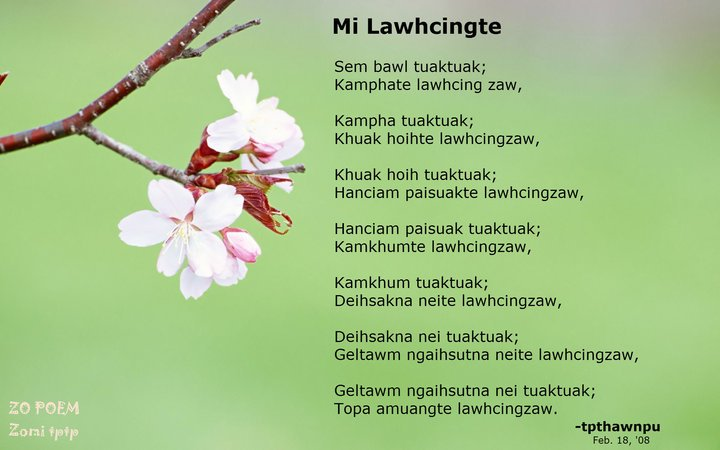 Zomi Sonnet: Mi Lawhcingte ~ Thawnpu