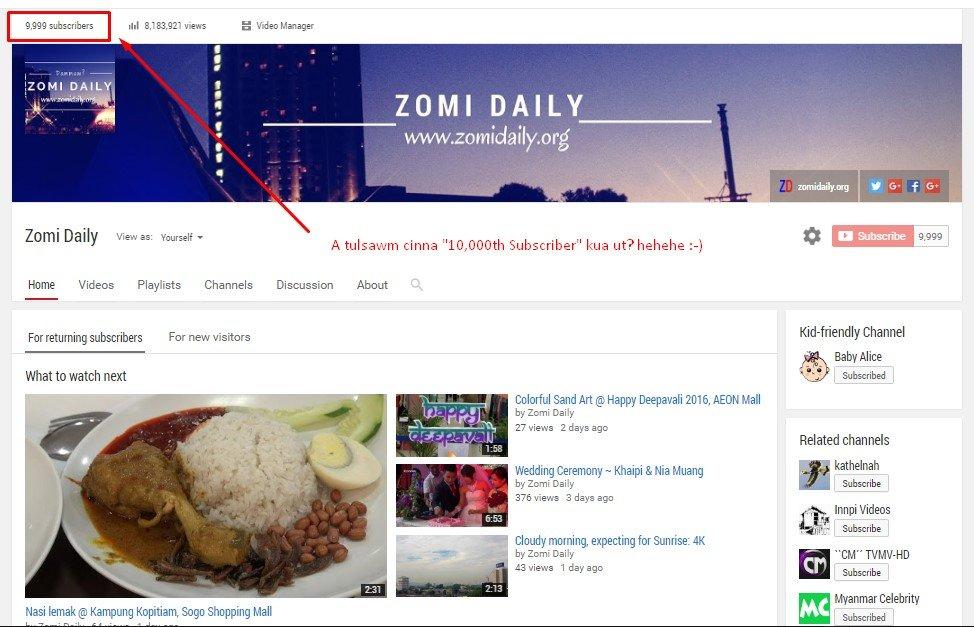 Zomi Daily ii YouTube Subscribers tulsawm cin Free Domain ~ ZD