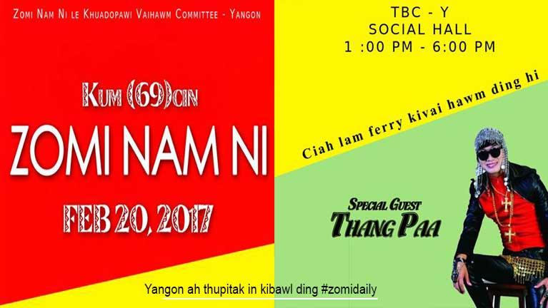 """Kum 69 cinna Zomi Nam Ni"" Yangon ah thupitak in kibawl ding ~ Zingsol"