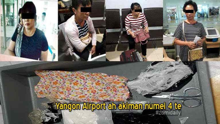 Bombi sungtenkawm ah vankham apua numei 4 Yangon Airport ah kiman