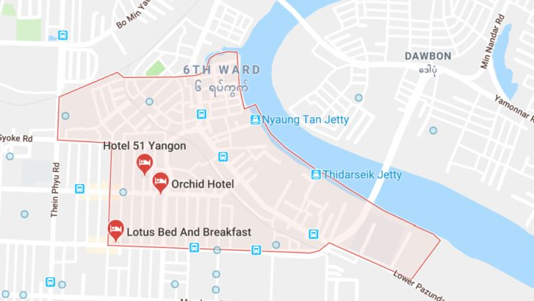 Yangon, Pazundaung Township sung aom lampi 15 te One-way in kilaihding