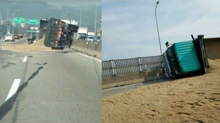 Malaysia, Penang Bridge tungah Lorry khat kilumlet in mawtaw awkcip