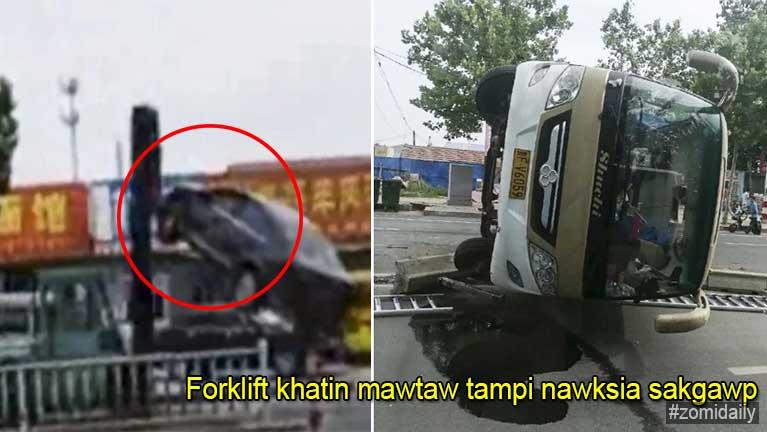 Forklift hawlkhat in mawtaw tampi ataihgawp laitak Video ki khahkhia, mi 2 si, 10 valliam