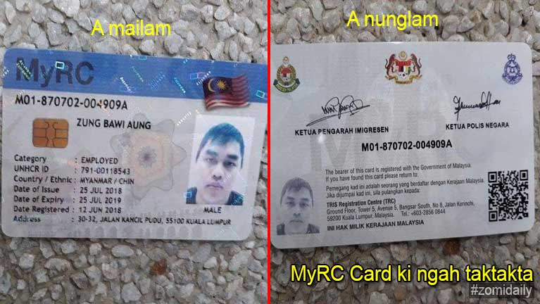 MyRC Card aki bawlmasa pawl ki ngah taktakta