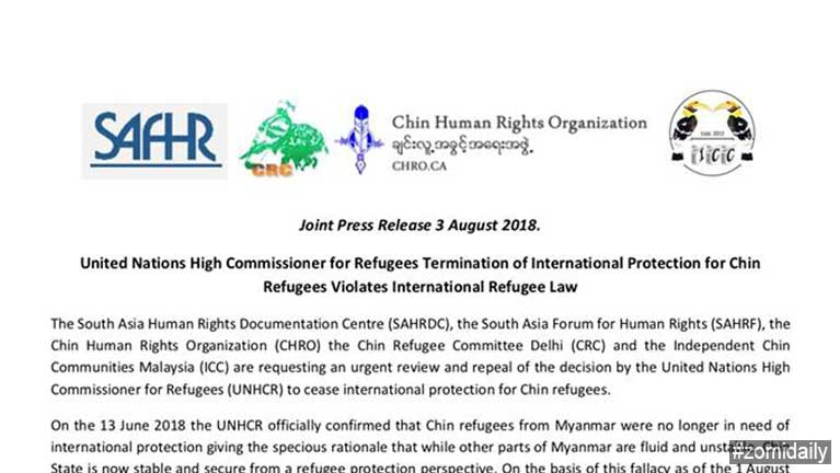 UNHCR Termination of International Protection for Chin Refugees Violates International Refugee Law